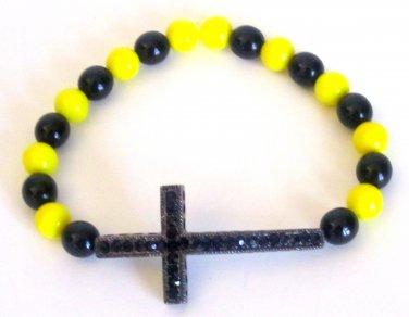 Men's Crystal Cross Bead Bracelet(Yw/Blk)