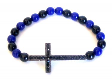 Men's Crystal Cross Bead Bracelet(Blu/Blk)