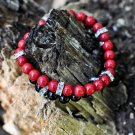 Men's Red Jade and Crystal Bracelet