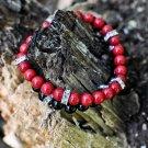 Men's Red Jade and Crystal Bracelet