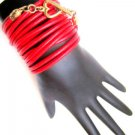 Leather Wrap Bracelet-Red