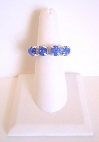 Sterling Silver Blue Swarovski Ring-Size 7/8
