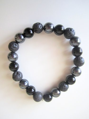 Men's Onyx,Hematite,Lava Rock Bracelet