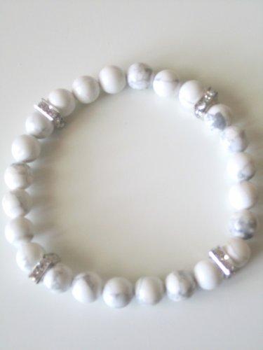 Men's White Howlite and Crystal Bracelet