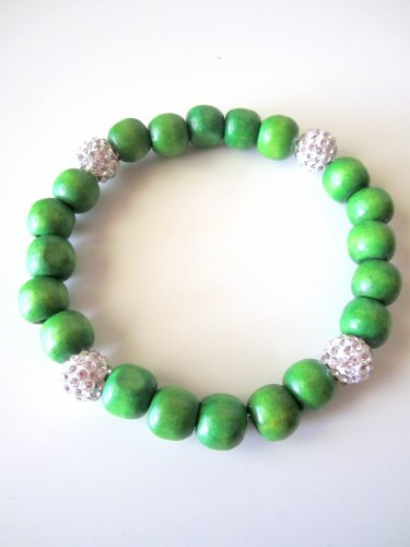 *SALE* Pave Crystal Wood Bracelet-Green