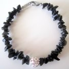 Gemstone Chips and Pave Crystals Bracelet-Onyx