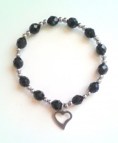 *SALE* Black Faceted Glass Stainless Steel Heart Charm Bracelet