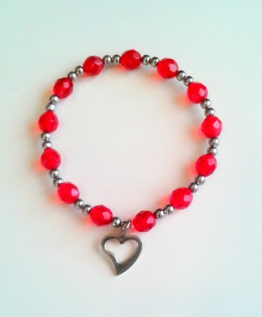 *SALE* Red Faceted Glass Stainless Steel Heart Charm Bracelet