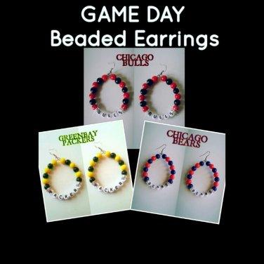"""""""Game Day"""" Beaded Sport Team Earrings"""