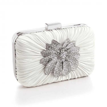 Bejeweled Satin Bridal Minaudiere | Ivory
