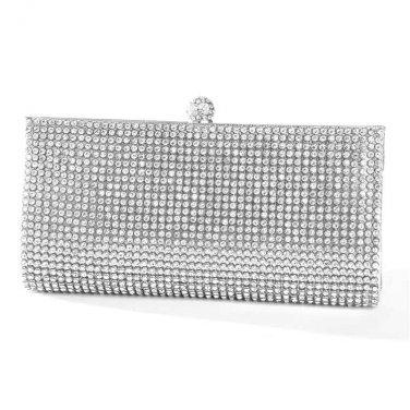 Evening Minaudiere w/ Bezel Set Crystals   Silver