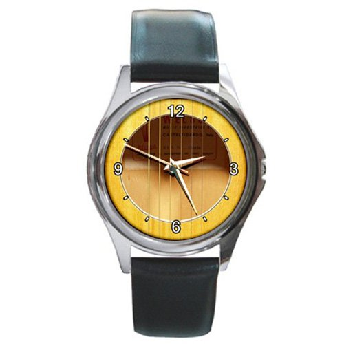 Soundhole Welson Flat-Top Guitar Style Round Metal Watch