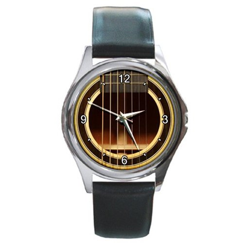 Soundhole Raines 7-String Dreadnaught Guitar Style Round Metal Watch