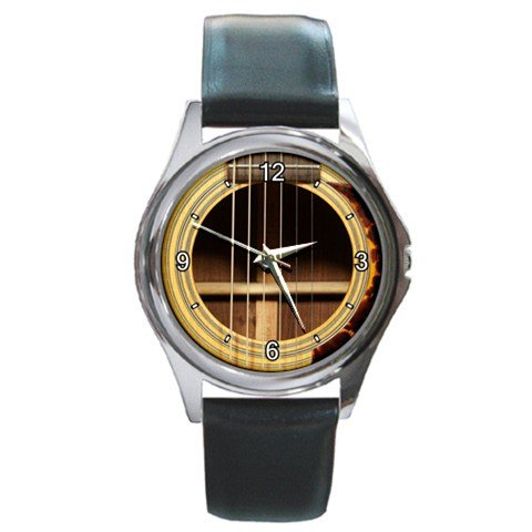 Soundhole SHOUSE 28 Guitar Style Round Metal Watch