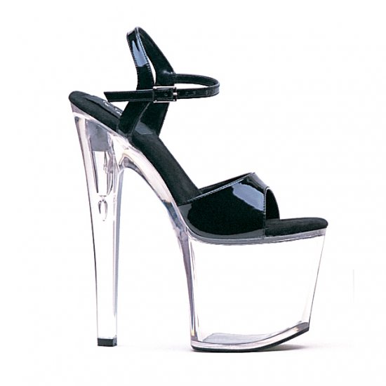 "821-JULIET-C, 8"" Heel Clear Bottom Stripper Sandals - Size 10 (US)"