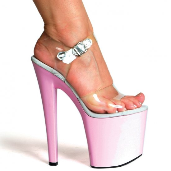 "821-BROOK, 8"" Heel Stripper Sandal in Clear/Pink Size 7 (US)"