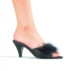 """PHOEBE, 2.5"""" Marabou Slippers in Black Size 6 (US)"""