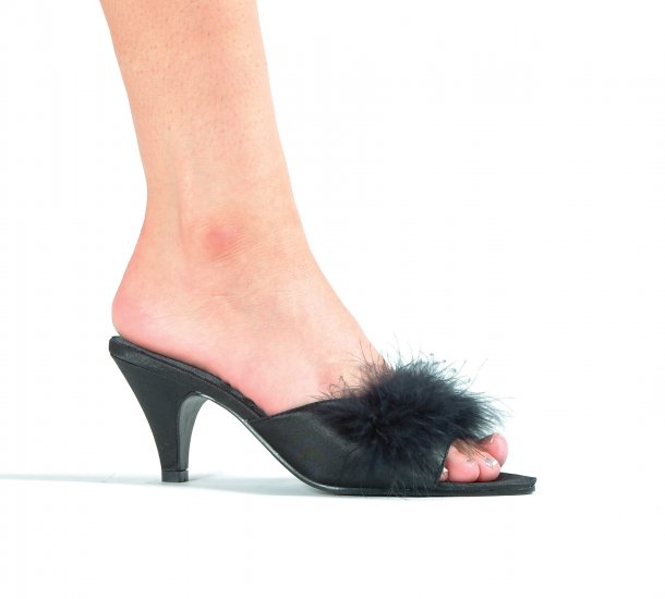 """PHOEBE, 2.5"""" Marabou Slippers in Black Size 15 (US)"""