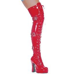 """557-KRUPA, 5"""" Thigh High Boots in Red - Size 6 (US)"""