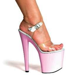 "821-BROOK, 8"" Heel Stripper Sandal in Clear/Pink Size 11 (US)"