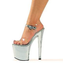 "821-CHROME, 8"" Heel Chrome Stripper Sandal in Clear/Silver Size 7 (US)"