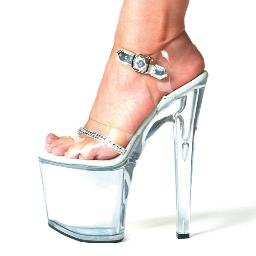 "821-JEWEL, 8"" Heel Clear Rhinestone Dancer Sandal in Size 5 (US)"