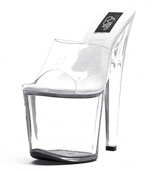 "821-VANITY, 8"" Stiletto Heel Stripper Mule in Clear/Clear Size 9 US)"