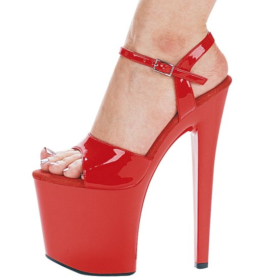 "821-JULIET, 8"" Heel Dancer Sandals in Red Size 5  (US)"