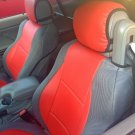 MIX LEATHERETTE & SYNTHETIC TWO FRONT RED/GRAY CAR SEAT COVERS (Fits BMW E46 CONVERTIBLE)