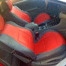 MIX LEATHERETTE & SYNTHETIC TWO FRONT RED/GRAY CAR SEAT COVERS (Fits BMW E93 CONVERTIBLE)