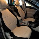 TWO FRONT CUSTOM BEIGE/BLACK VELOUR SYNTHETIC CAR SEAT COVERS (Fits SUBARU XV CROSSTREK)