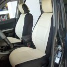 MIX LEATHERETTE & SYNTHETIC TWO FRONT SUGAR/BLACK CAR SEAT COVERS (Fits MERCEDES E-Class 1995-2002)