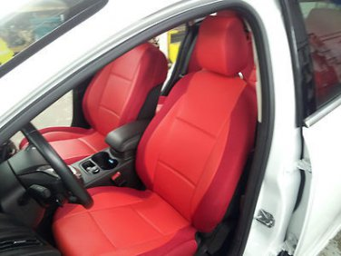 Fits MERCEDES E-Class 1995-2002 W210 MIX LEATHERETTE & SYNTHETIC TWO FRONT RED CAR SEAT COVERS