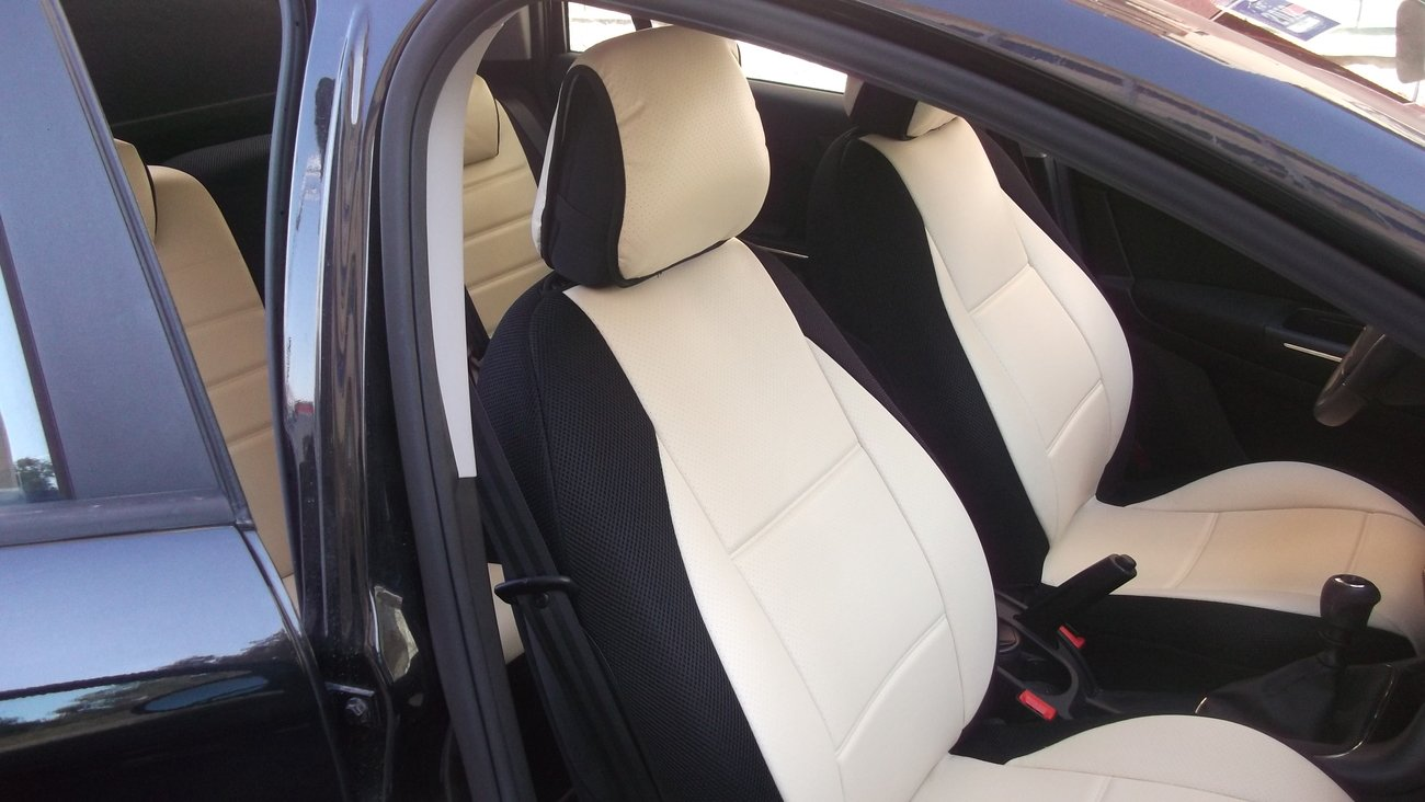 Fits FIAT BRAVO 2007-NOW MIX LEATHERETTE & SYNTHETIC FRONT & REAR SUGAR/BLACK CAR SEAT COVERS