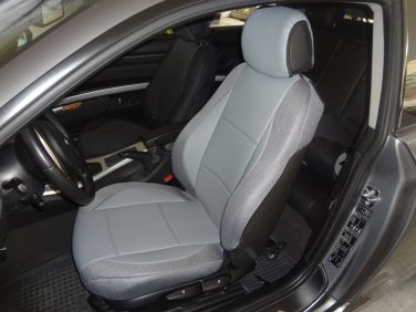 MIX LEATHERETTE & SYNTHETIC TWO FRONT GRAY CUSTOM CAR SEAT COVERS (Fits BMW COUPE (E92) 2007-2011)