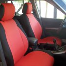 VW GOLF 2009-2013 5 DRS MK6  MIX LEATHERETTE & SYNTHETIC TWO FRONT CUSTOM RED BLACK CAR SEAT COVERS