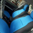 VW GOLF 2009-2013 3 DRS MK6 TWO FRONT CUSTOM BLUE/BLACK DIAMOND SYNTHETIC CAR SEAT COVERS