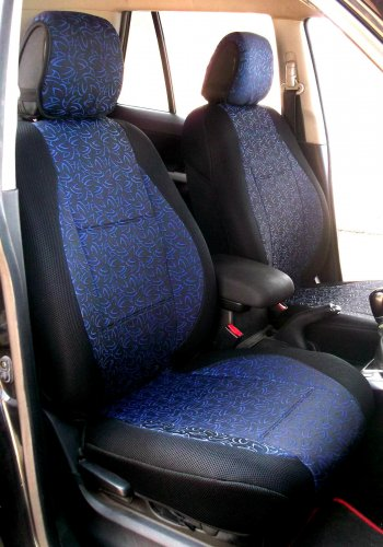 Two Front Fancy Cotton & Synthetic Blue Black (K44) Car Seat Covers (Fits BMW X5 E70 2007-2013)