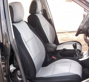 Two Front Grey Black Fancy Cotton & Synthetic (K46) Car Seat Covers (Fits AUDI A6 2004�2011)