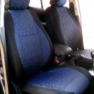 Two Front Blue Black Fancy Cotton & Synthetic (K44) Car Seat Covers (Fits AUDI A6 2011–Now)