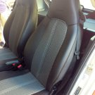 Fits SMART FORTWO 1998-2007 MIX LEATHERETTE & TWO TONE SYNTHETIC FISHNET TWO CAR SEAT COVERS