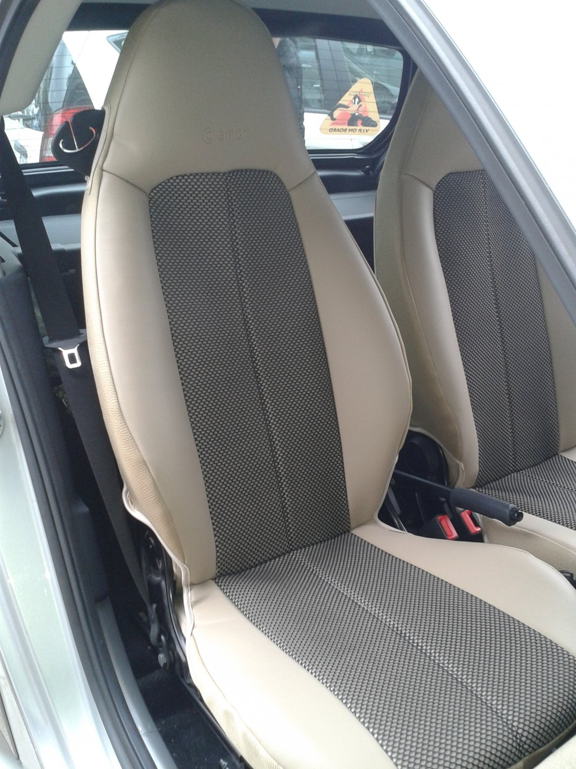 fits smart fortwo 2007 2014 mix leatherette two tone synthetic fishnet two car seat covers. Black Bedroom Furniture Sets. Home Design Ideas