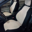 VW GOLF 2013-.... 3 DRS MK7 TWO FRONT CUSTOM BEIGE/BLACK VELOUR SYNTHETIC CAR SEAT COVERS
