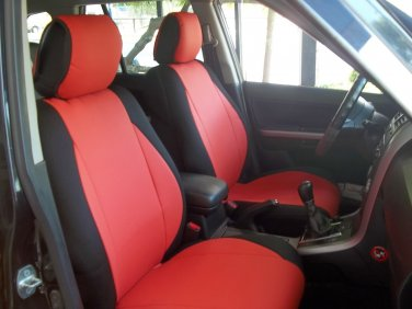 VW PASSAT 1996�2005 MIX LEATHERETTE & SYNTHETIC TWO FRONT CUSTOM RED BLACK CAR SEAT COVERS