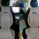 GRAY COTTON & BLACK SYNTHETIC TWO FRONT CUSTOM CAR SEAT COVERS (Fits NEW MINI 2001-...)