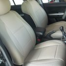 MIX LEATHERETTE & SYNTHETIC TWO FRONT TAN CAR SEAT COVERS (Fits BMW E46 CONVERTIBLE)