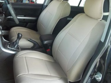 MIX LEATHERETTE & SYNTHETIC TWO FRONT TAN CAR SEAT COVERS (Fits BMW COUPE (E92) 2007-2011)