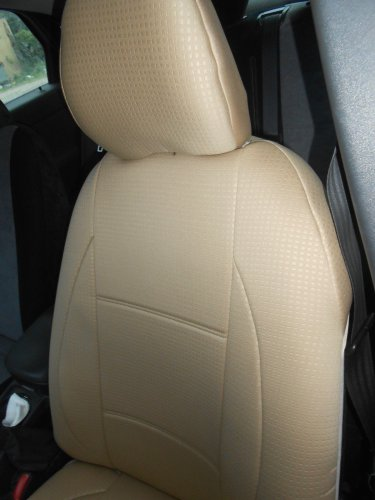 TWO FRONT CUSTOM TAN DIAMOND SYNTHETIC CAR SEAT COVERS (Fits Toyota PRIUS 2010-...)