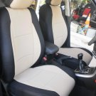 MIX LEATHERETTE & SYNTHETIC TWO FRONT SUGAR BLACK CAR SEAT COVERS (Fits AUDI A6 2011–....)