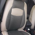 TWO FRONT TAN LEATHERTTE & TAN BLACK FISHNET CAR SEAT COVERS fits VOLVO XC60 XC70 XC90 UNTIL 2014